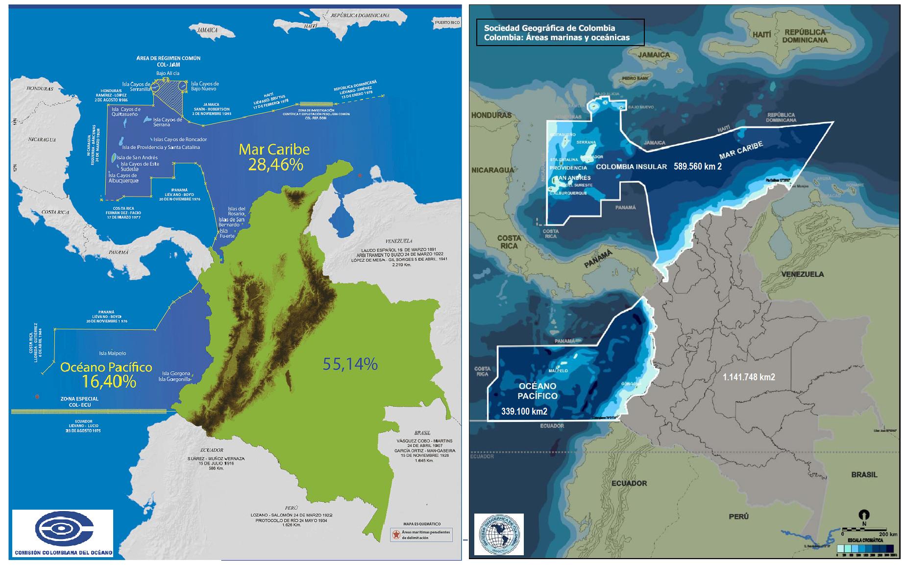 Mapas sobre mares con venezuela
