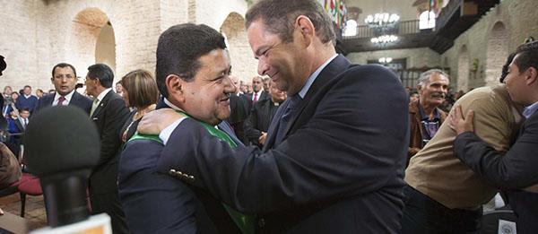 German Vargas posesion Alcalde de Tunja, Pablo Emilio Cepeda