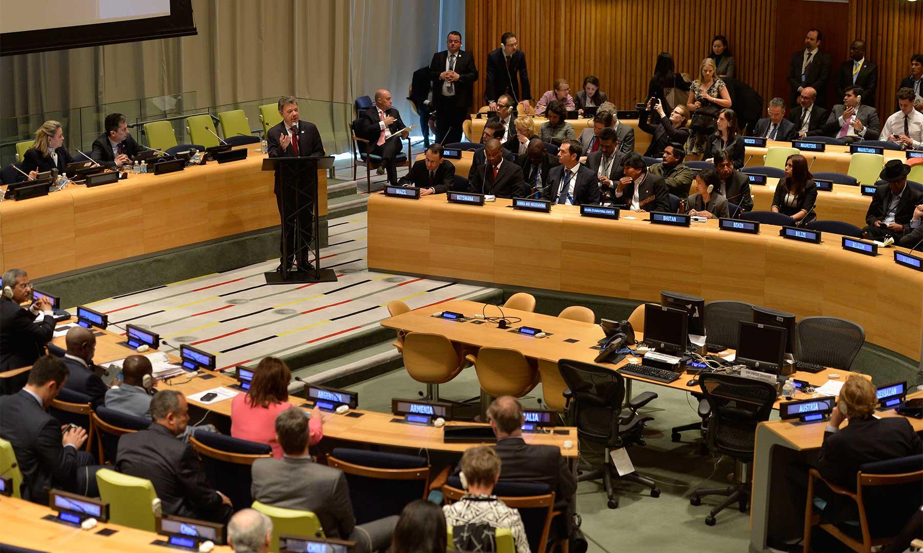 El Presidente Juan Manuel Santos intervino este jueves en la Sesión Especial de la Asamblea General de las Naciones Unidas sobre Drogas (UNGASS), donde pidió un nuevo enfoque para combatir el problema.