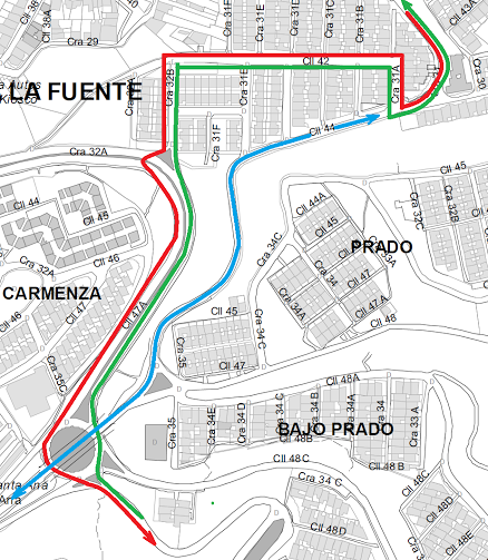 Mapa flujo vehicular panamericana