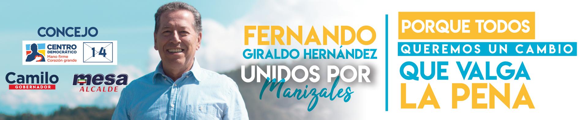Fernando Giraldo. Banner campaña política.