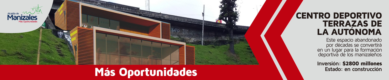 Terrazas de la Autónoma. Banner Alcaldía de Manizales.