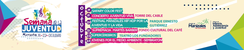 Semana de la Juventud. Banner Alcaldía de Manizales. Octubre.