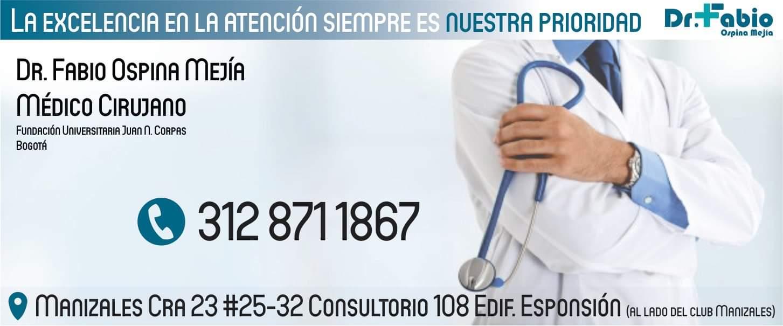 Fabio Ospina, médico. Banner.